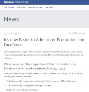 Facebook competition rules change