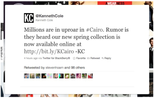 Kenneth Cole Newsjacking Fail