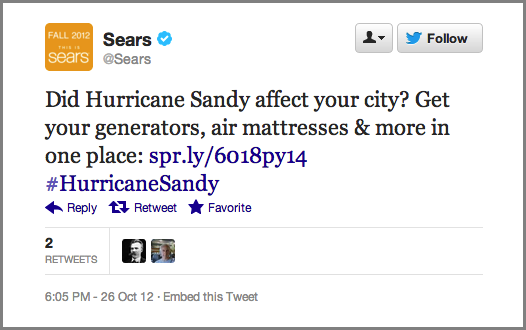 Sears Newsjacking fail