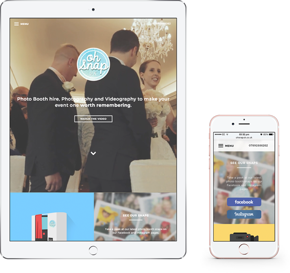 Oh Snap website on an iPad and iPhone | Web Design Surrey | Thunderbolt Digital