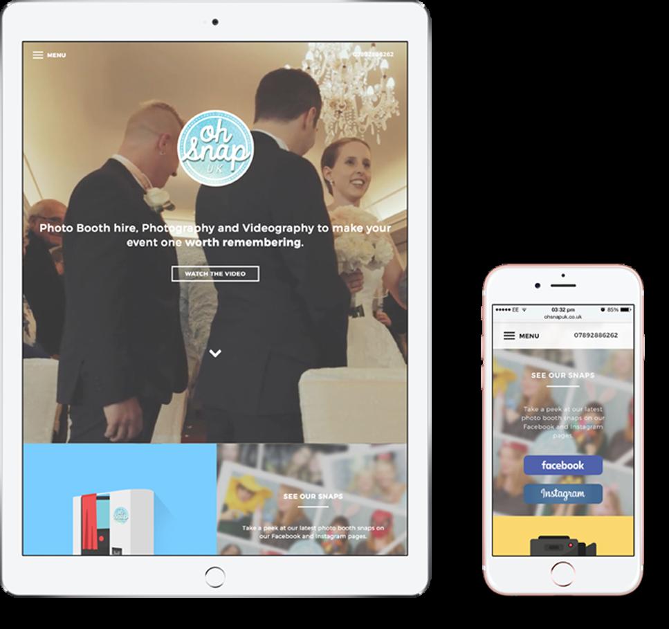 Oh Snap website on an iPad and iPhone   Web Design Surrey   Thunderbolt Digital