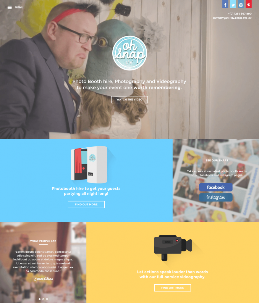 Oh Snap Website | Website Design Surrey | Thunderbolt Digital