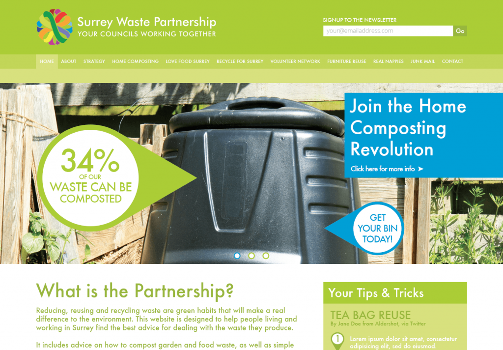Surrey Waste Partnership Website | Website Designer Surrey | Thunderbolt Digital