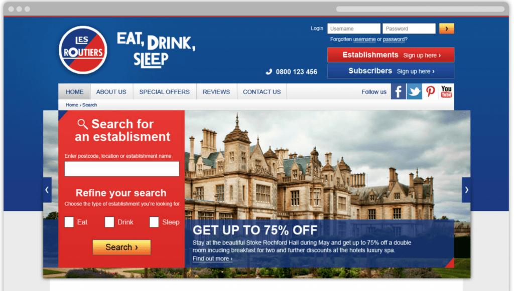 Les Routiers Website Screenshot | digital agency Surrey