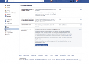 A browser displaying Facebook's Advertising settings | Social Media Marketing Surrey