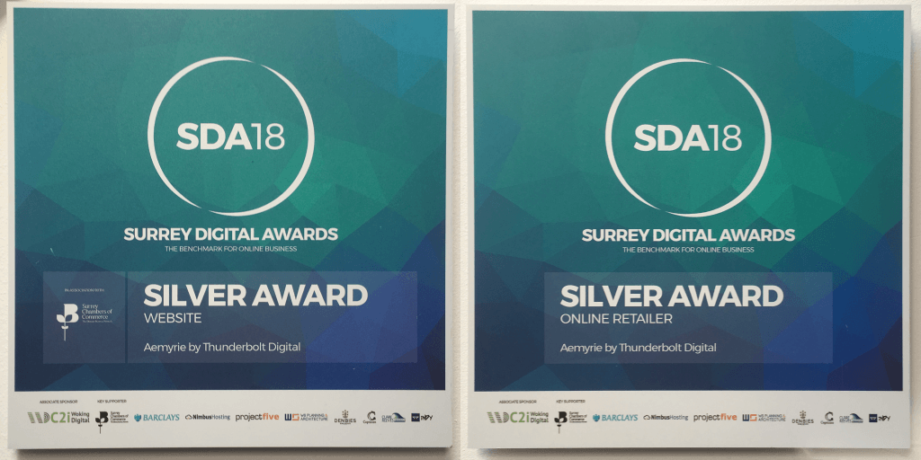 Aemyrie's two Silver awards from SDA18