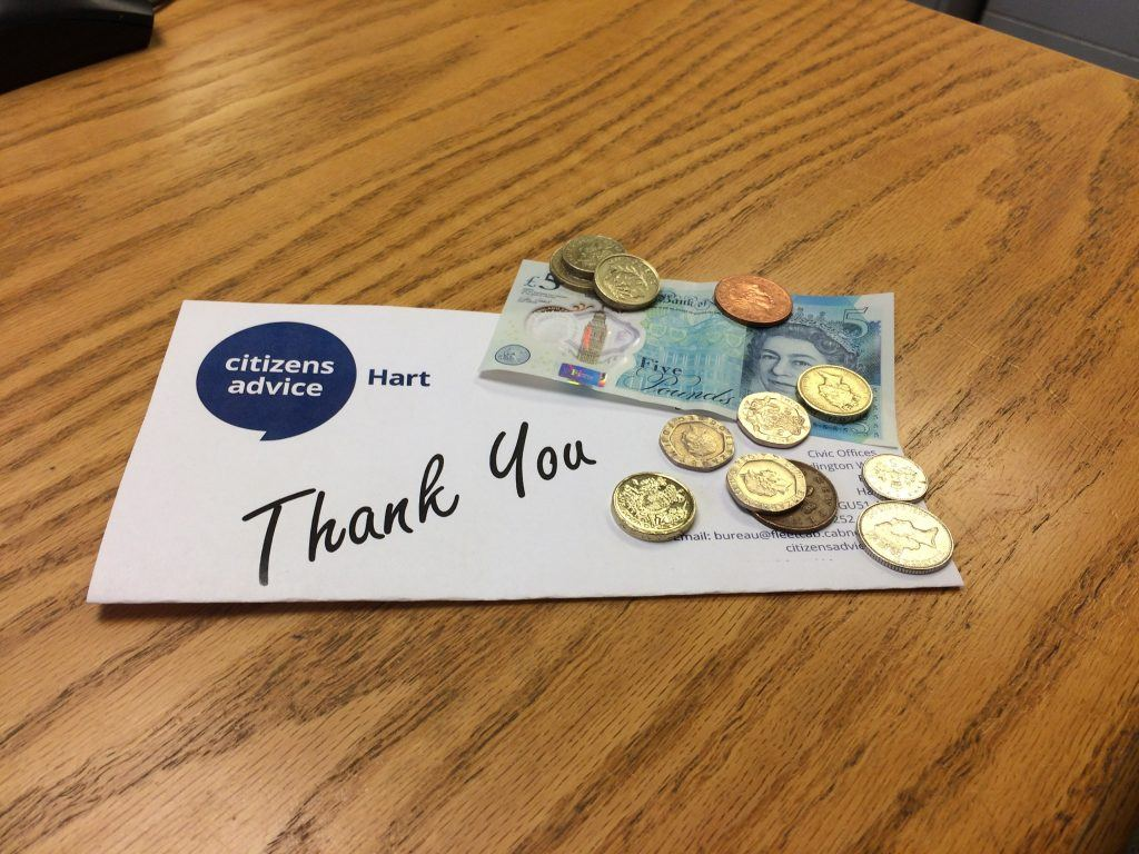 A Citizens Advice Hart envelope with Thank You printed on the front