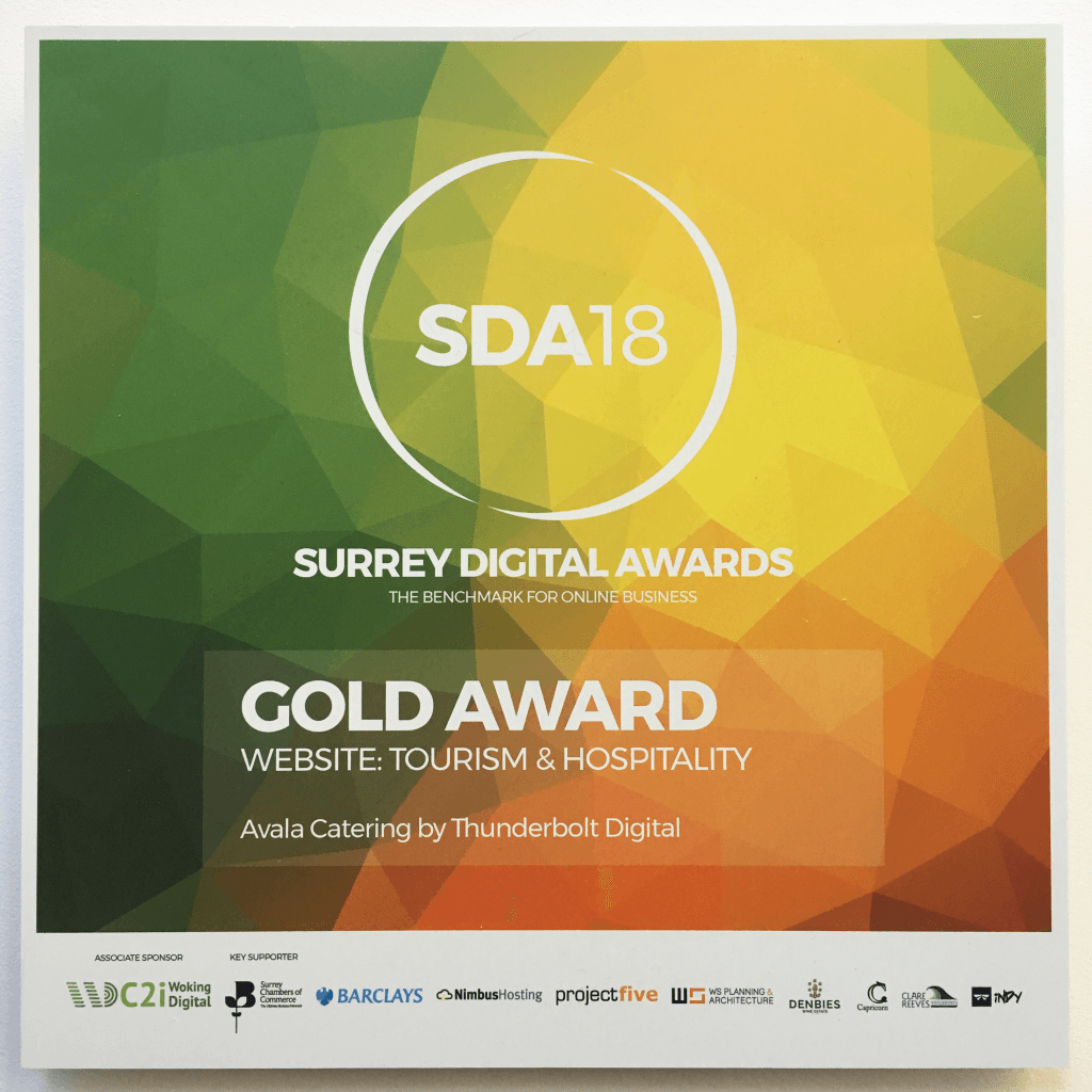 Avala Catering's Gold award from SDA18