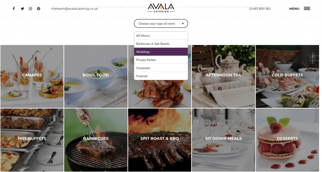 A screenshot of the Avala Catering website's interactive menu