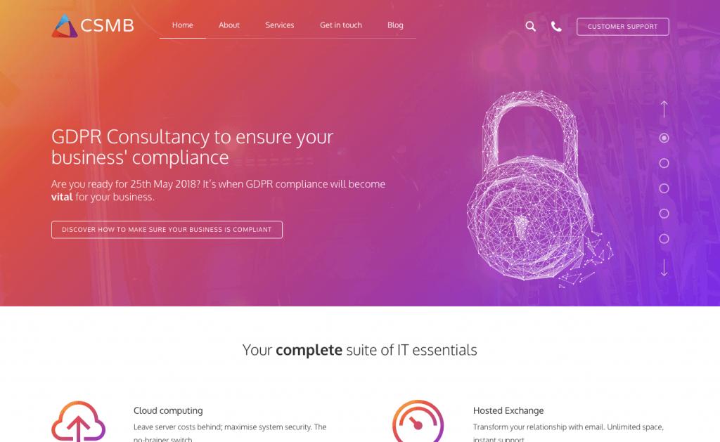 A screenshot of the CSMB Homepage | Web Design Surrey