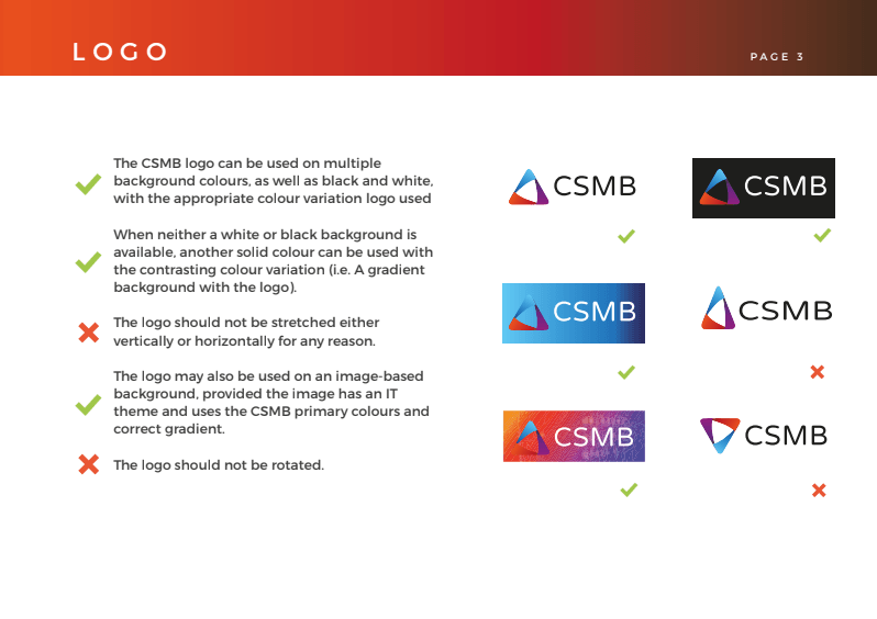 Logo usage guidance from the CSMB Branding Guidelines