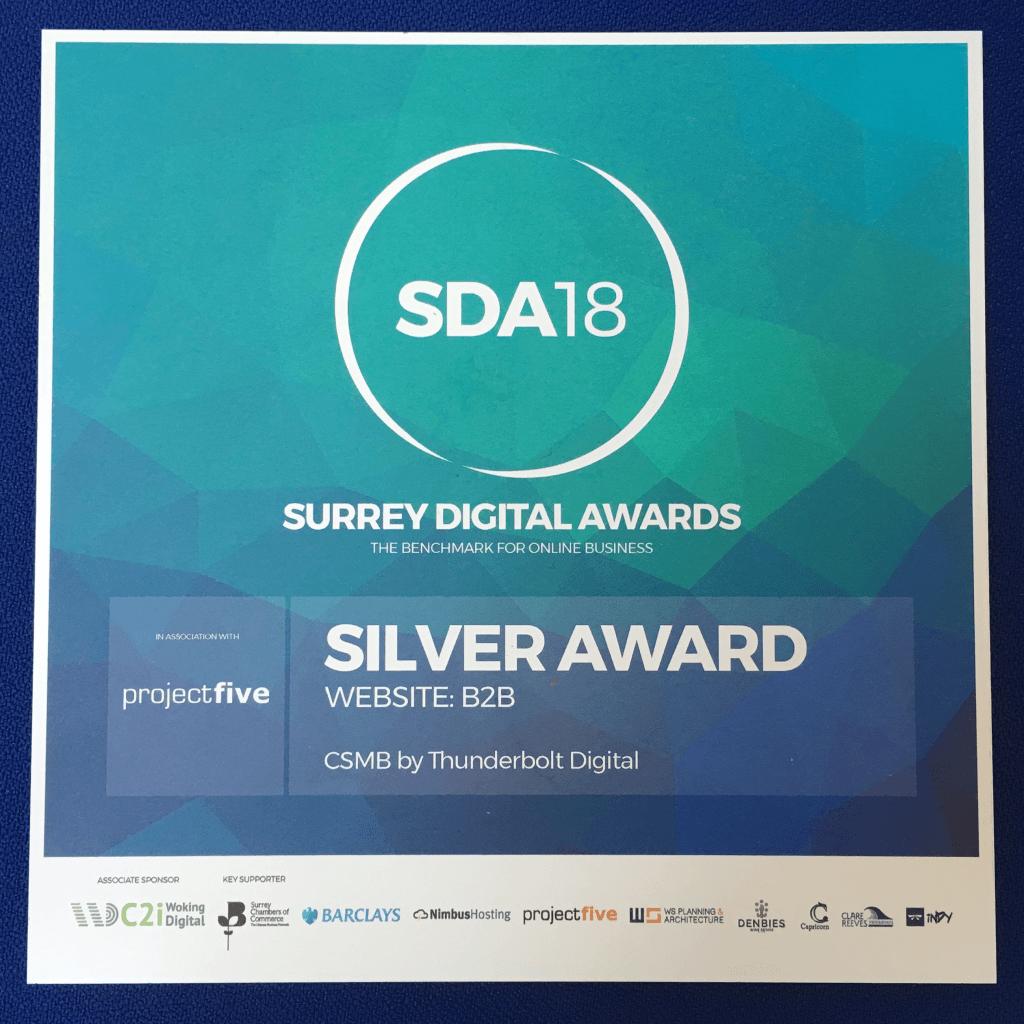CSMB's Silver award from SDA18