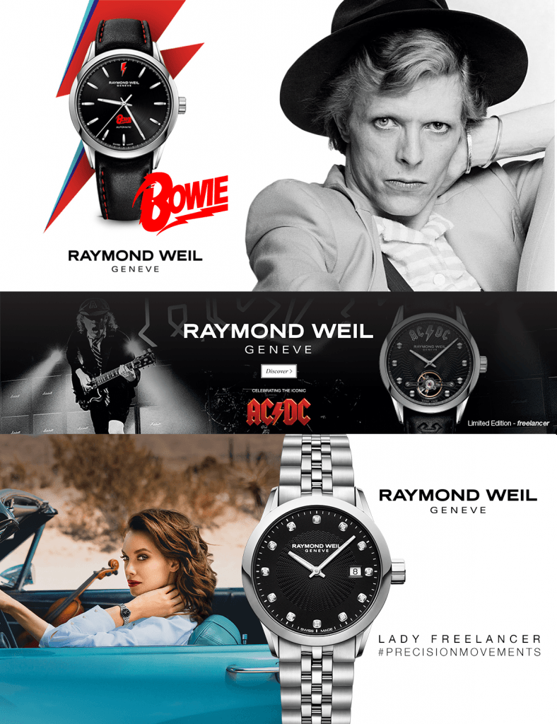 Examples of advertising campaigns that we have run for Raymond Weil on social media