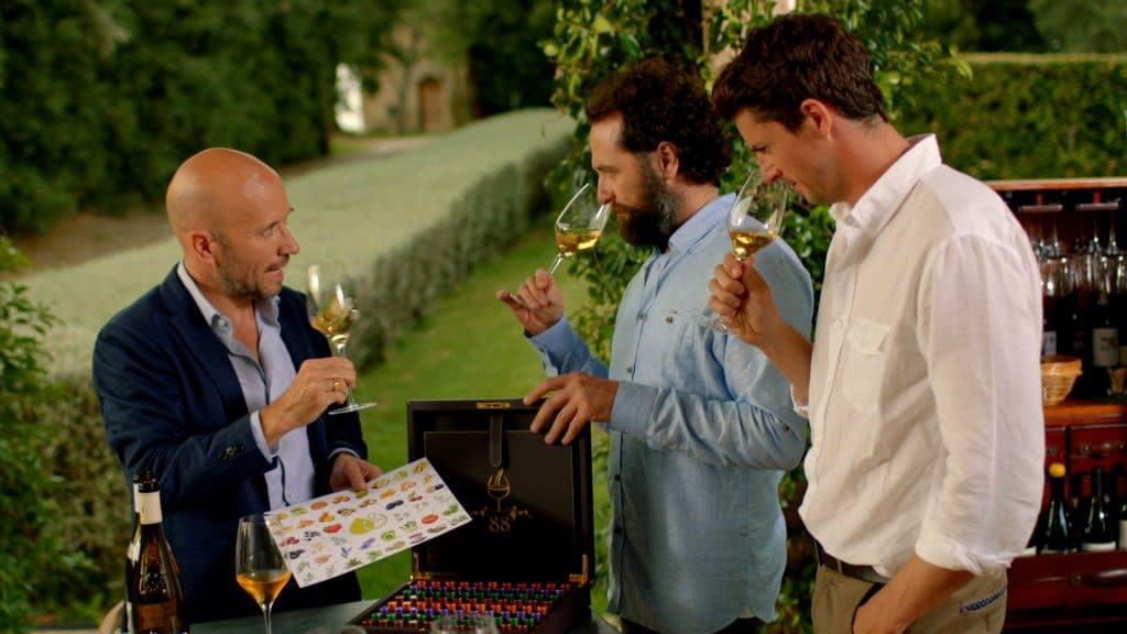 Joe Fattorini, Matthew Rhys & Matthew Goode drinking wine